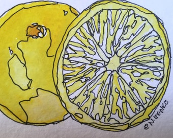 Lemon Original Watercolor ACEO by Nan Henke, also referred to as an ATC (Artist's Trading Card)