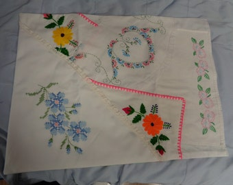 "14-18"" Shabby Chic- Vintage linens- Doll Bed Cover-Blanket-Bed Spread"