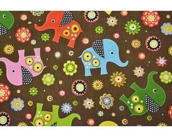 Upholstery cotton printed elephant 150 x 50 cm
