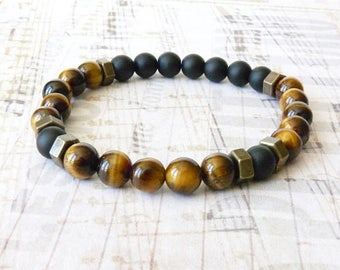 Men Bracelet, Tiger Eye, Stone Bracelet, Bohemian Boho Southwestern Black Onyx, Beaded Bracelet, Boyfriend Father Husband, Valentines Gift