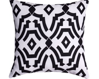 Black and White Outdoor Pillow - Chevelle Black and White STUFFED Outdoor Throw Pillow - Black Geometric Decorative Pillow - Free Shipping