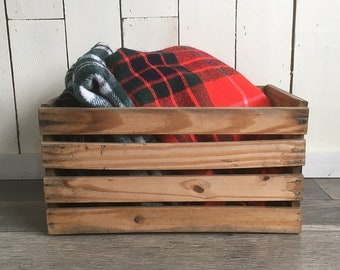 "Rustic Old Produce Crate, Farm Crate, Fruit Crate, Wood Slate Box ""Distressed Patina"""