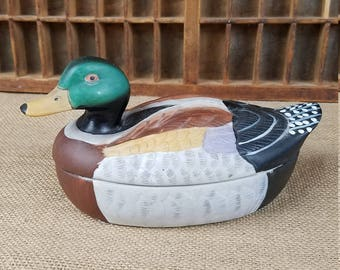 Vintage handcrafted ceramic mallard duck trinket box w/removable top