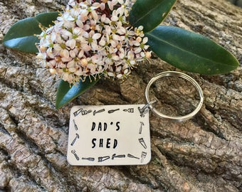 Dads Shed, Shed Keyring, Shed Keys, Gift for him, Hand Stamped, Personalised Keyring, Personalised Keyring for Him, Fathers Day, Grandad