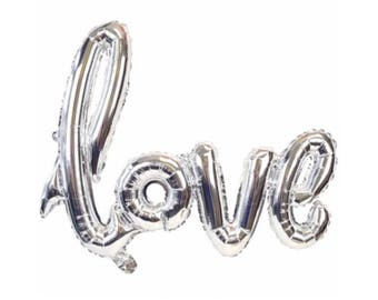 "Silver Love Balloon script font/ 40"" balloon banner/ air fill only/ script balloon/wedding balloon/ jumbo balloon/"
