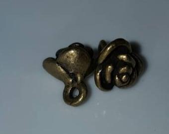 8mm Antique Bronze Rose Flower Charms Drop Pendants 4pcs