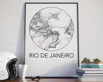 Rio de Janeiro, Brazil Minimalist City Map Print