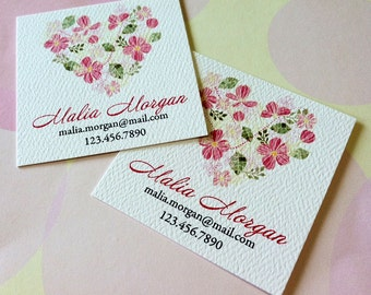Personalized Floral Business Cards Calling Cards - Set of 48