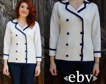 Vintage 60s Navy & White Sailor Mod Cardigan Sweater Jumper S M White Sweater White Cardigan Nautical Sweater Sailor Cardigan