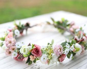 Pink flower crown, Flower headband, wedding flower crown, bridal flower crown, bohemian flower crown, mauve flower crown, floral crown
