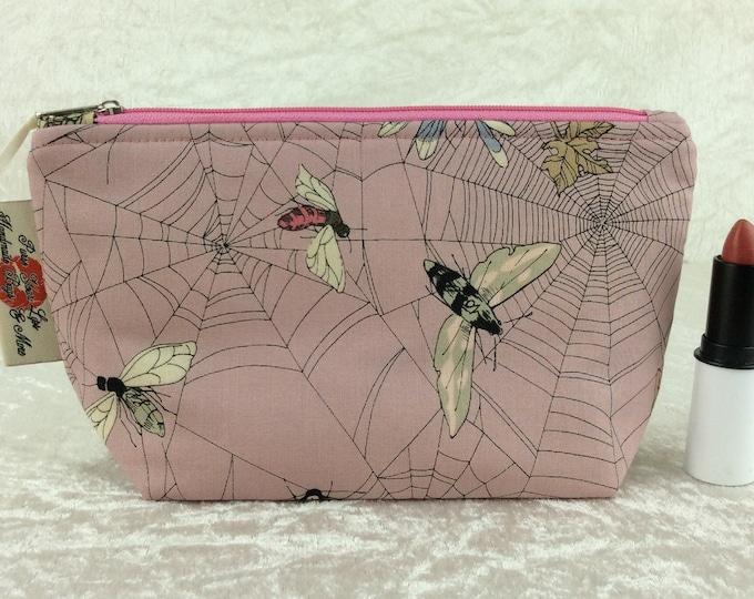 Handmade Zipper Case Zip Pouch fabric bag pencil  case purse Alexander Henry Ghastlie Web Moths Gothic