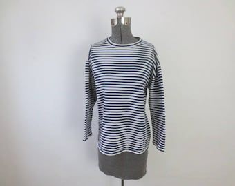 Vintage Navy Blue & White Striped Russian / Soviet Sweatshirt, Pullover, Large