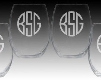 Set of 4 Monogrammed Stemless Wine glasses