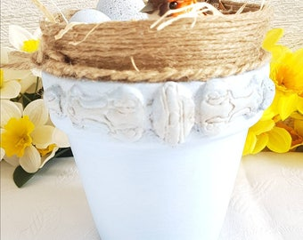 Easter decoration, Bird in the nest, spring decoration, nest in the pot, rustic Bird nest, shabby chic pot, decorative pot, Easter Bird nest