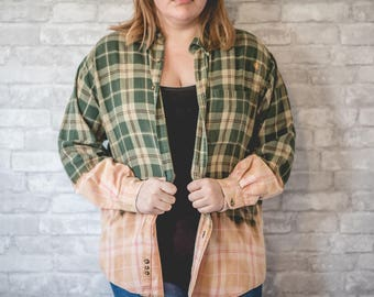 Large green, brown and white flannel