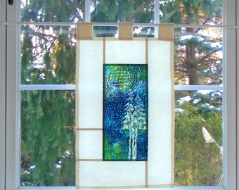 Quilted Moon Over Pines  ~ Bleached Art Stained Glass Look Pojagi Batik Window Treatment  / bohemian cafe / dorm curtain / boudoir curtain