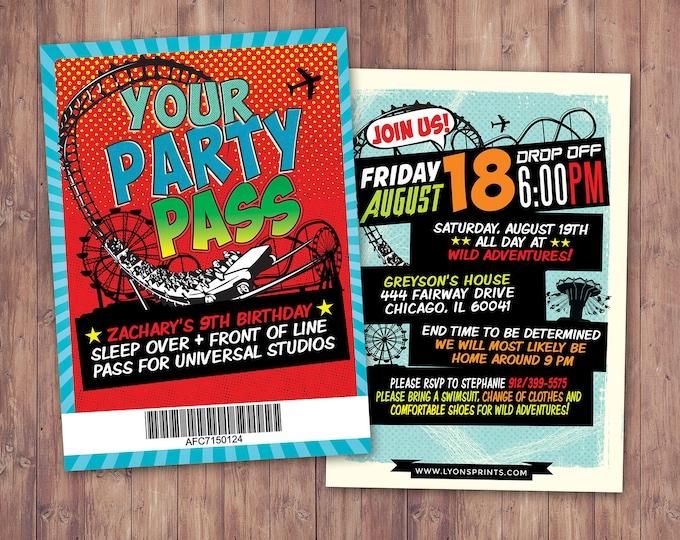 Amusement Park party, Super Hero party invitation / boy birthday invitations /  Theme park, super hero birthday, Digital files