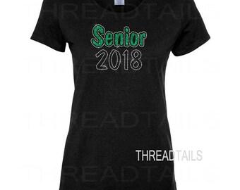 Senior 2018 Shirt | Glitter Rhinestone Senior 2018 Tee | Class of 2018 T-shirts | Graduation Gift | Bling sparkle tee, top.