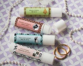 40 Personalized Vanilla Flavored Lip Balm Tubes Bridal Shower Wedding Favors