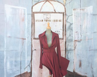 Vintage Deep Burgundy Smocked Belted Dress (Size Medium)