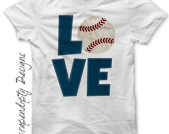 Baseball Iron on Transfer - Iron on Baseball Love Shirt PDF / Kids Boys Sports Tshirt / Customized T-Ball Shirt / Womens Mom Love Tee IT357