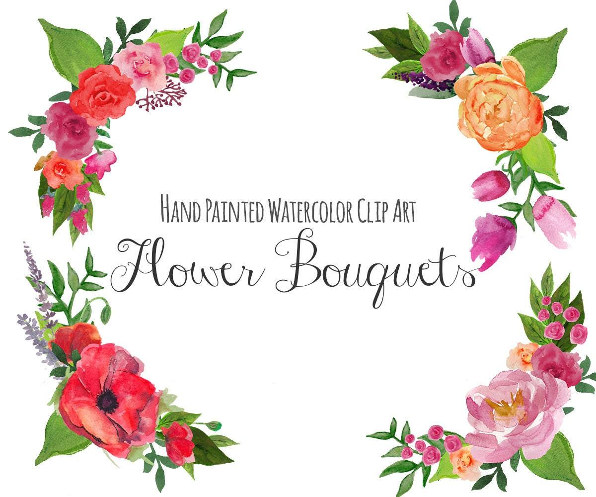 Floral Clip Art FLORAL BOUQUET Frame Clipart Wedding