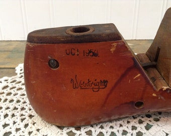 Vintage Wooden Shoe Form by Woodright Shoemaker Cobbler Oct 1950's