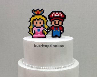 Cake Topper- Mario and Princess Peach Wedding Cake Topper - Video Game Wedding - 8 Bit Wedding Cake Topper - Nerdy Wedding