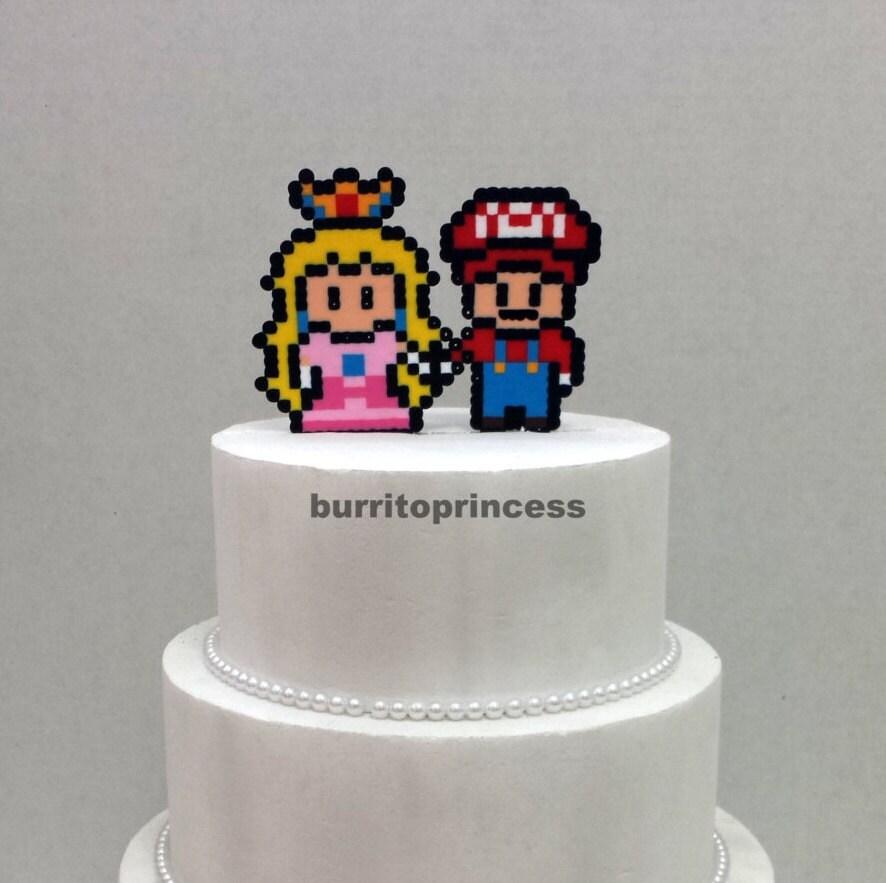 Cake Topper Mario and Princess Peach Wedding Cake Topper