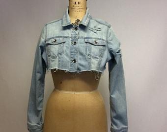 Tattered Cropped Vintage  denim jacket M