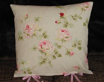 Linen Rose Ribbon-Tie Cushion Cover