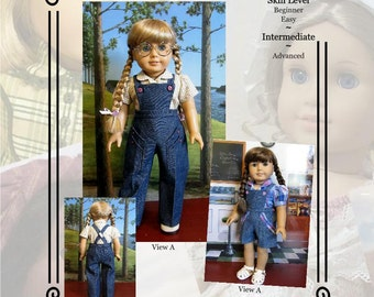 """PDF Pattern KDD19 """"Bibbed Play Suit"""" -An Original KeepersDollyDuds Design, Makes 18"""" Doll Clothes"""