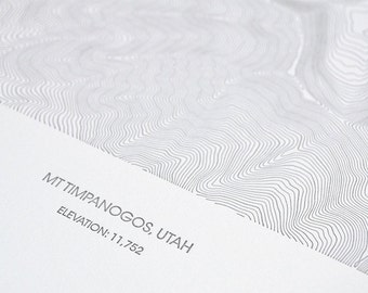Mount Timpanogos Topographic Poster - Letterpress