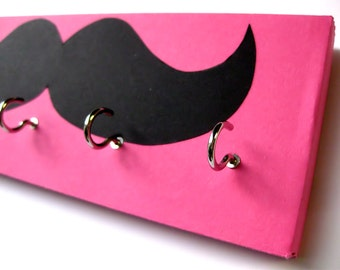 Mustache Jewelry Holder and Key Rack - Black Mustache on Pink Hot Pink Background, light pink, dark pink, hot pink, bright, mustache