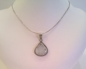 Crackle Quartz and Sterling Silver Pendant on Snake Chain - Teardrop Shaped Clear and White Quartz Stone - Vintage Pendant Necklace