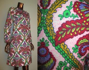 Vintage 1970s Tapestry Print Dress 60s Mod Scooter Dress Damask Print Size S