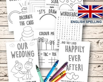 Kids Wedding colouring & activity book- INSTANT DOWNLOAD - Pdf Reception Game,Colouring pages,Printable activity English Spelling