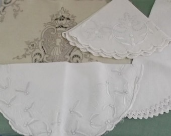 Vintage Doilies White and Beige Cotton with Embroidery 4 Pieces