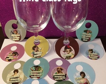 Funny Wine Glass Tags, wine charms, hostess gift, wine bottle accessory