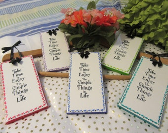 Affirmation Ceramic Tiles Unique One of A Kind Hand Painted SIMPLE THINGS in LIFE Special Choice of Colors Red, Blue, Green, Aqua, Purple