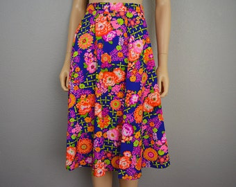 70s Women's Psychedelic Neon Floral Print Skirt High Waisted Knee Length Retro Skirt 70's Clothing Epsteam