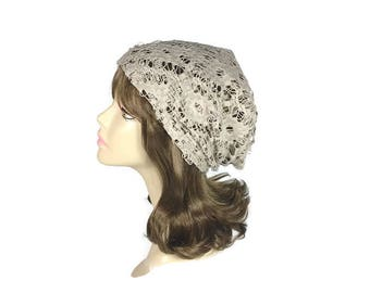 Lace Slouchy Hat Beige Lace Hat Summer Lace Hat Lightweight Lace Beanie Boho Beanie Tan Hat Custom Size Women's Hats Lace Slouch Hat