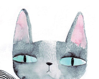 Cat's eyes card, cat greeting card, blank, watercolour cat card