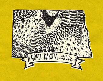 North Dakota State Bird Print- Western Meadowlark, 8x10 inches.