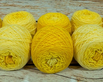 "Shorty Sock Twins "" Badger Yellow "" - Lleap Handpainted Semisolid Gradient Sock Yarn"