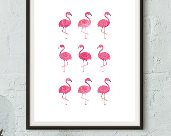 "Printable Watercolor Flamingo Marching Art Print - 8x10"" - Instant Download - Modern - Hip - Home Wall Art"