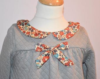 Quilted - liberty terracota Peter Pan collar dress