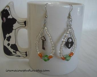 Locked in Love beaded loop earrings