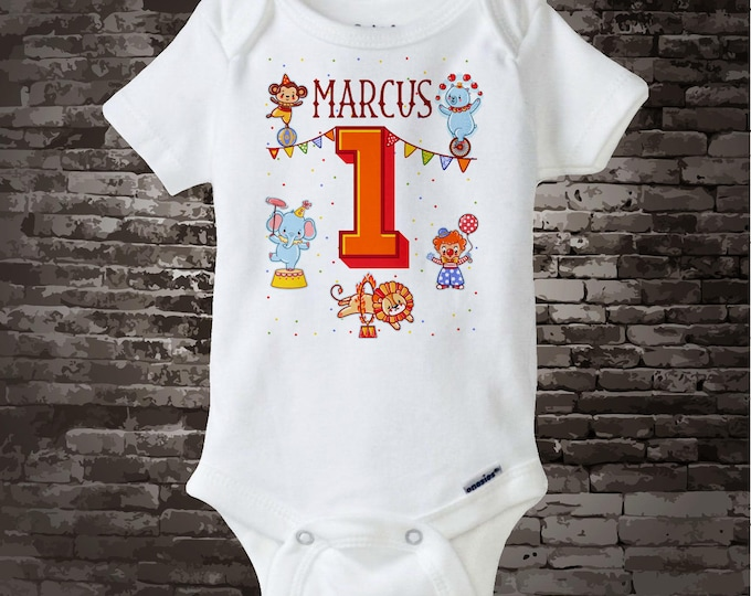 Circus 1st Birthday Onesie Bodysuit or t-shirt, Circus Themed First Birthday, Circus 1st Birthday outfit top Circus Birthday Party 02212017a
