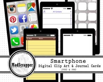 Revista tarjetas y smartphone Digital Clip art
